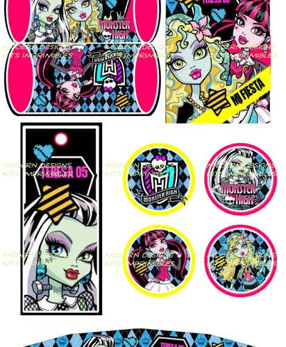 kit imprimible monster high adornos invitaciones y+