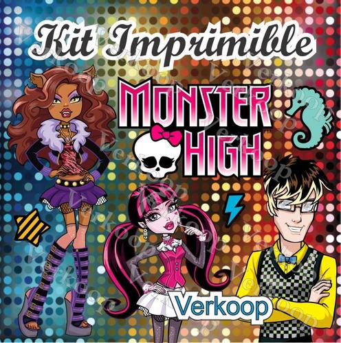 kit imprimible monster high marcos tarjetas invitaciones