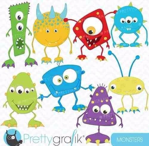kit imprimible monstruos 10 imagenes clipart