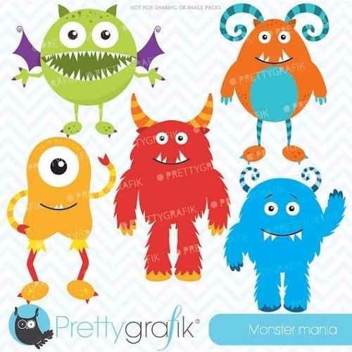 kit imprimible monstruos 9 imagenes clipart