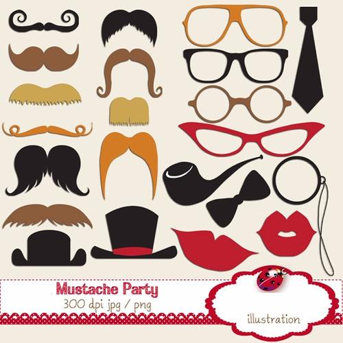 kit imprimible mostacho bigotes lentes corbata 15 imagenes c