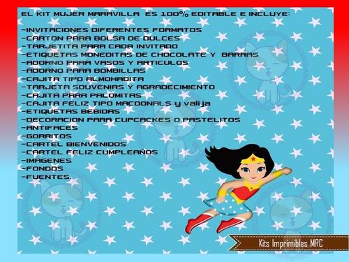 kit imprimible mujer maravilla cotillón cumple cajitas y mas