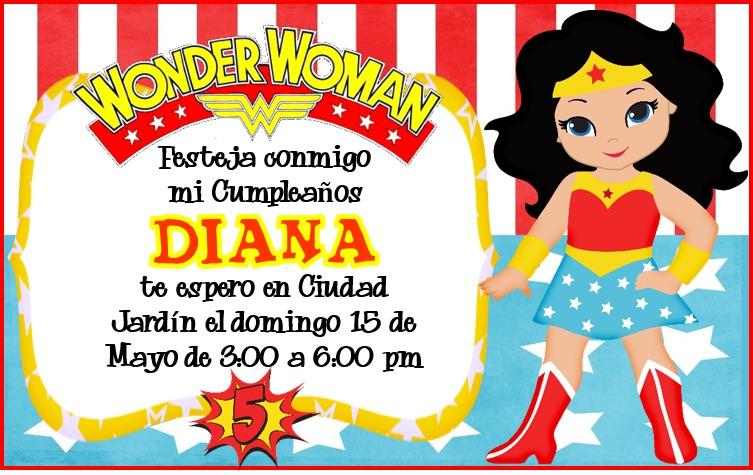 Kit Imprimible Mujer Maravilla Tarjeta Invitacion Cumpleaños $ 3 999 en Mercado Libre