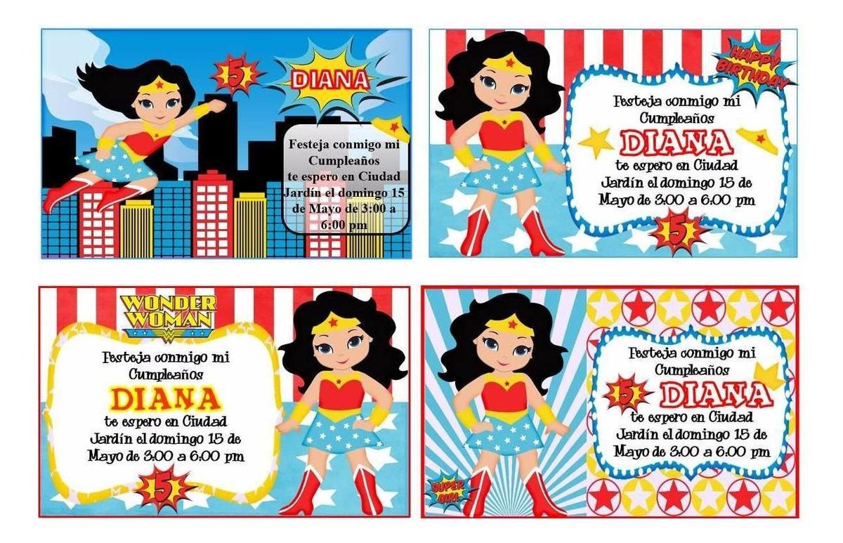 Kit Imprimible Mujer Maravilla Tarjeta Invitacion Cumpleaños
