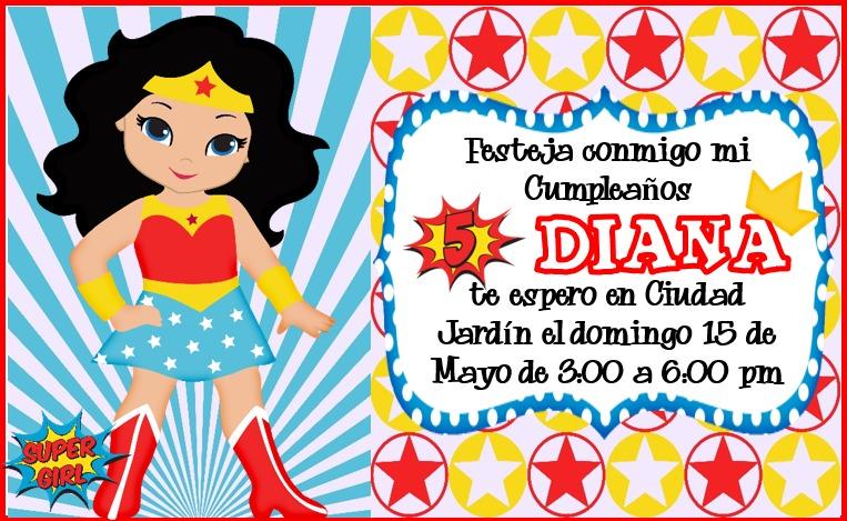 kit imprimible mujer maravilla tarjeta invitacion cumpleaos