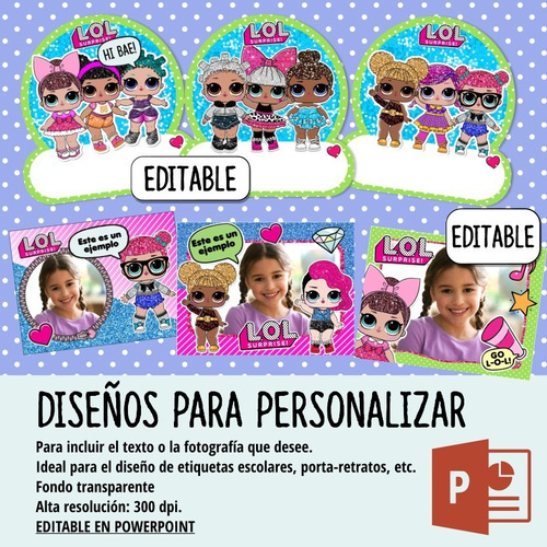 kit imprimible muñecas lol surprise, editable