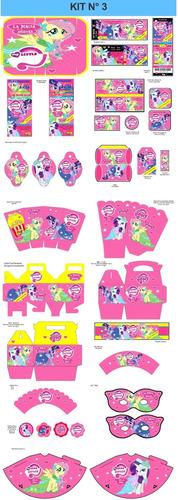 kit imprimible my little pony fiesta 3x1