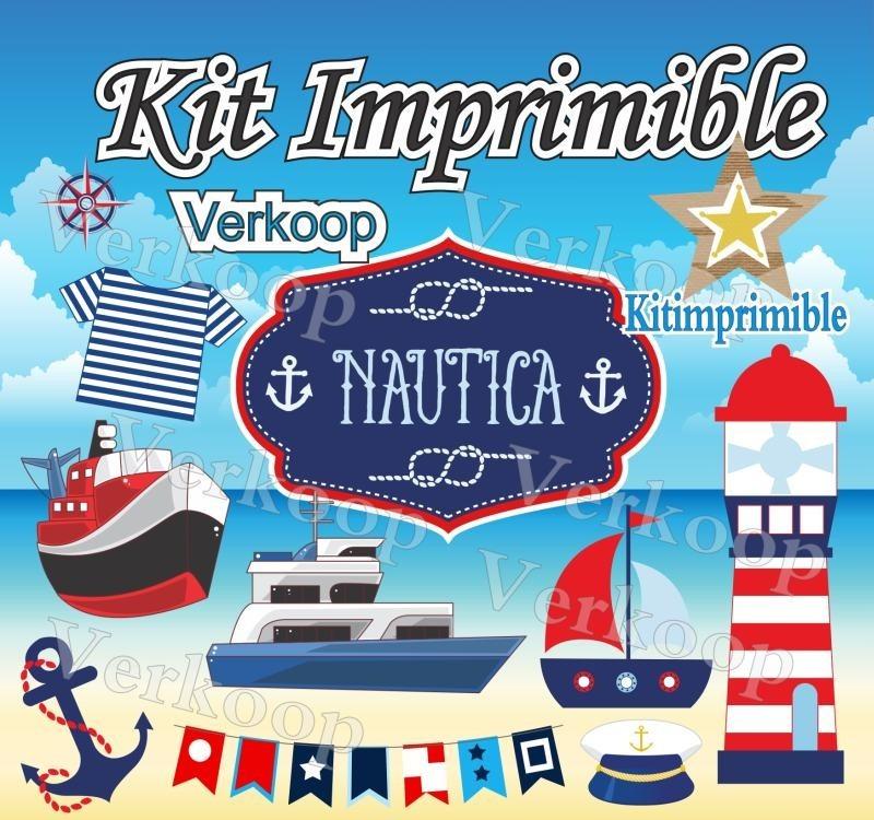 Kit Imprimible Nautico Navy Candy Bar Marinero Fiesta Niño A ...