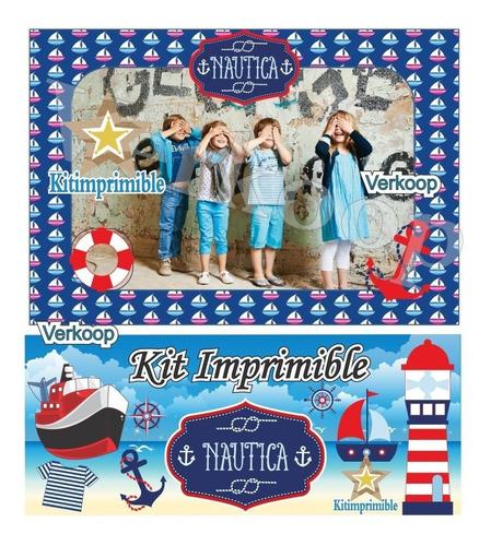 kit imprimible nautico navy candy bar marinero fiesta niño a