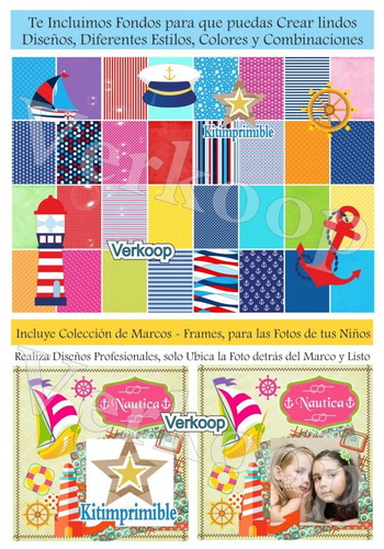 kit imprimible nautico navy candy bar marinero fiesta niño a