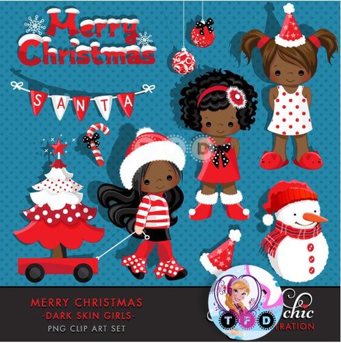 kit imprimible navidad clipart nenas santa arbolito imagenes