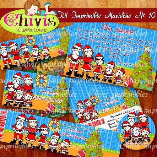 kit imprimible navidad no 10 tarjetas invitaciones candy bar