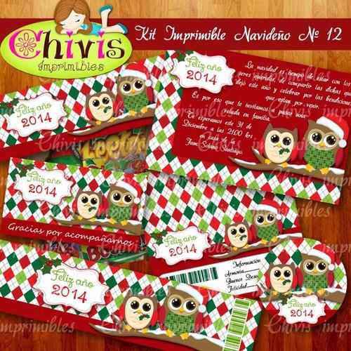 kit imprimible navidad no 12 tarjetas invitaciones candy bar