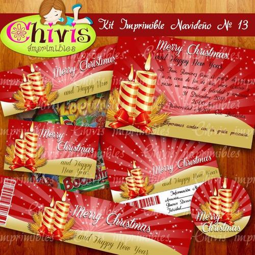 kit imprimible navidad no 13 tarjetas invitaciones candy bar