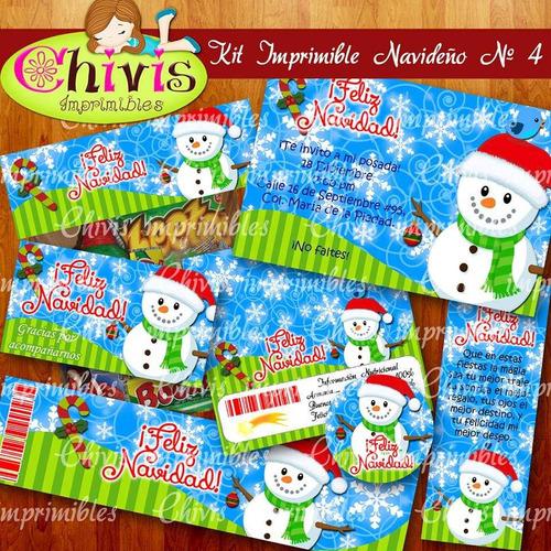 kit imprimible navidad no 4 tarjetas invitaciones candy bar