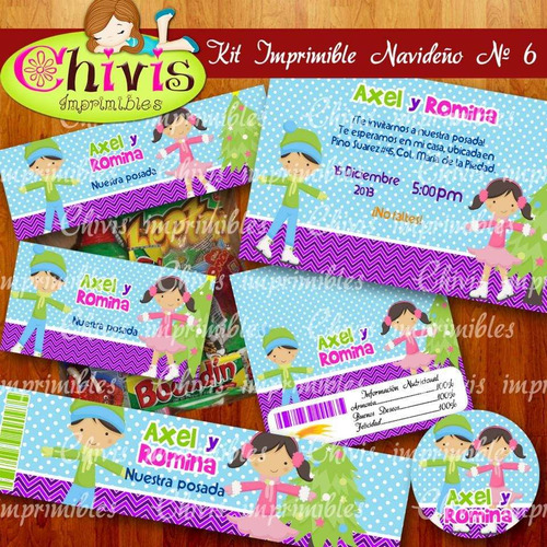 kit imprimible navidad no 6 tarjetas invitaciones candy bar