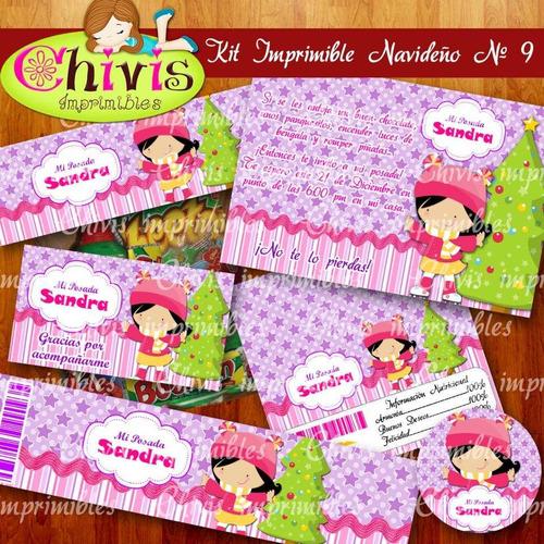 kit imprimible navidad no 9 tarjetas invitaciones candy bar