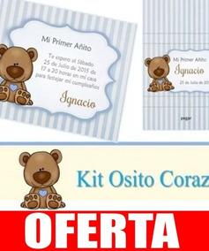 Kit Imprimible Osito Corazón Varón Cumple Bautismo Comunion