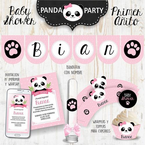 kit imprimible oso panda bebé baby shower nena