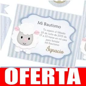Kit Imprimible Ovejita Varón Invitacion Estampita Candy 44