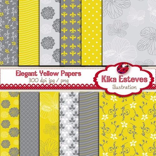 kit imprimible pack fondos amarillos clipart cod1083