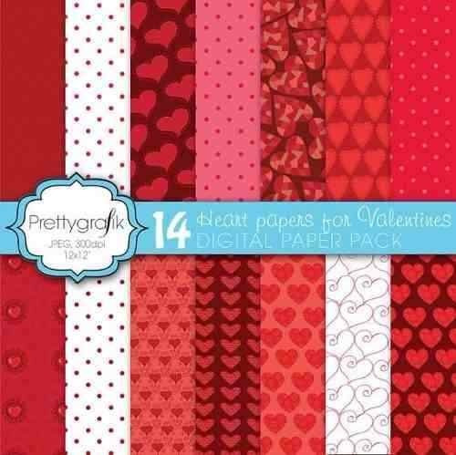 kit imprimible pack fondos amor corazones 3 clipart