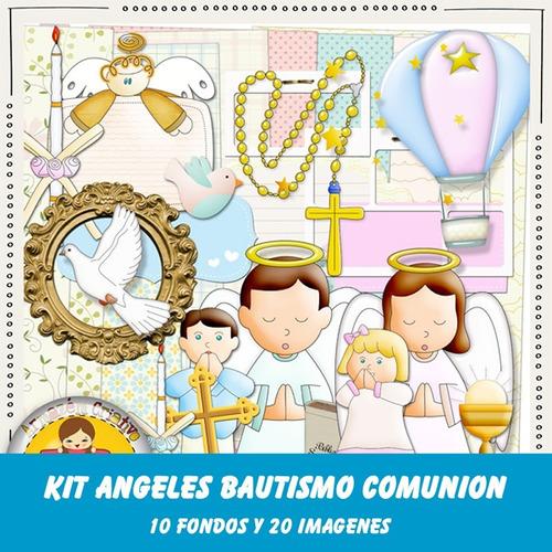 kit imprimible pack fondos angeles bautismo comunion 90