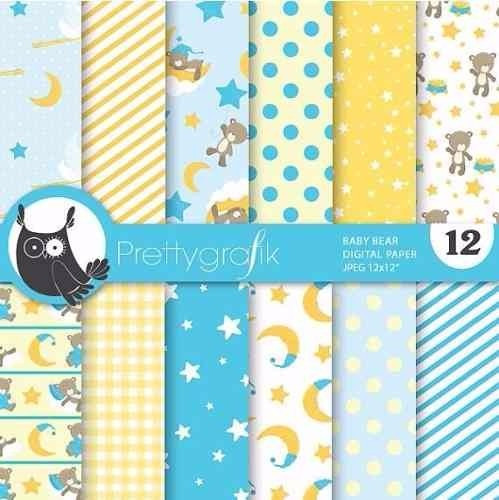 kit imprimible pack fondos baby shower 10 clipart