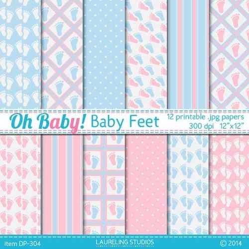 kit imprimible pack fondos baby shower clipart