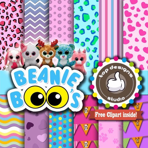 kit imprimible pack fondos beanie boos clipart