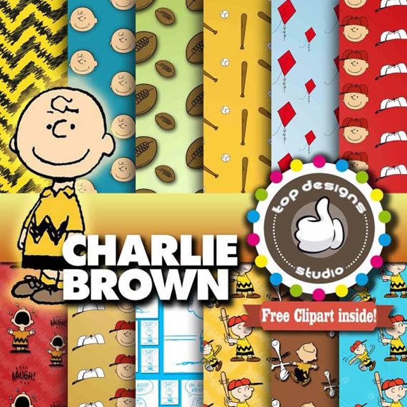 Kit Imprimible Pack Fondos Charlie Brown 44 Clipart - $ 24.00 en ...