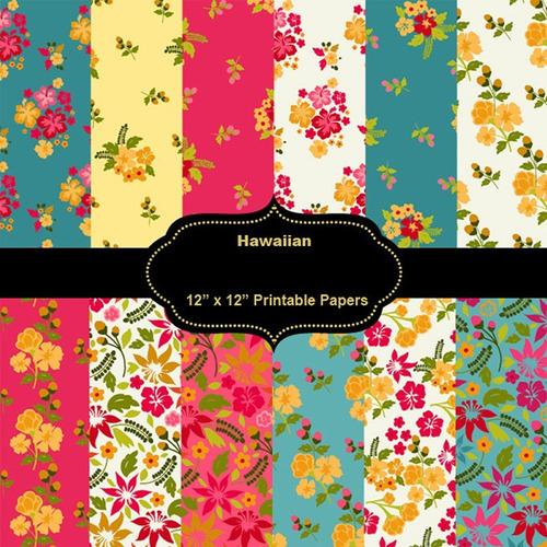 kit imprimible pack fondos flores multicolor 30 clipart