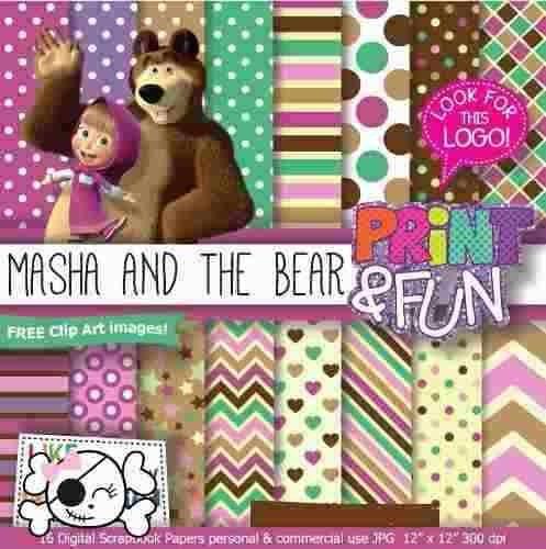 kit imprimible pack fondos masha y el oso clipart