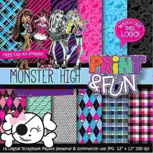 kit imprimible pack fondos monster high clipart