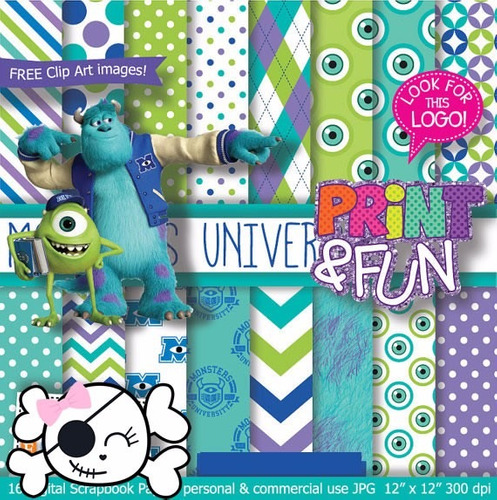 kit imprimible pack fondos monsters university clipart cod 4