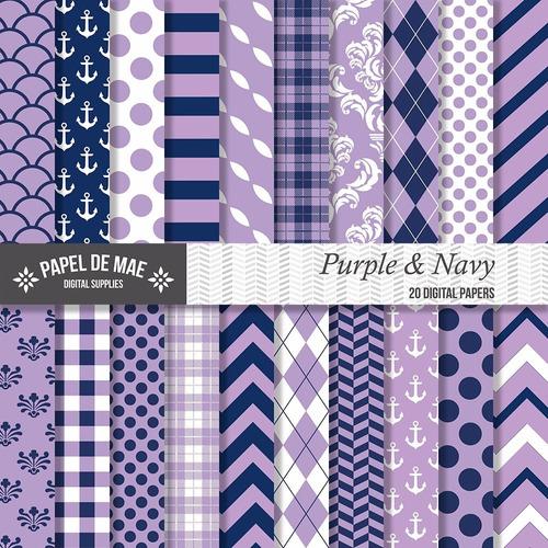 kit imprimible pack fondos nautico violeta c064