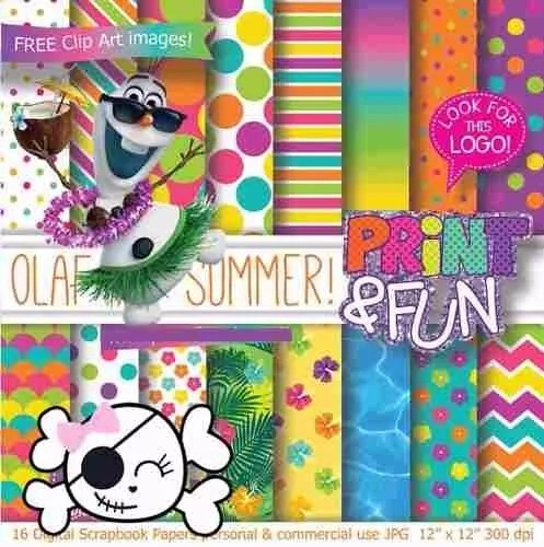 kit imprimible pack fondos olaf frozen fever clipart
