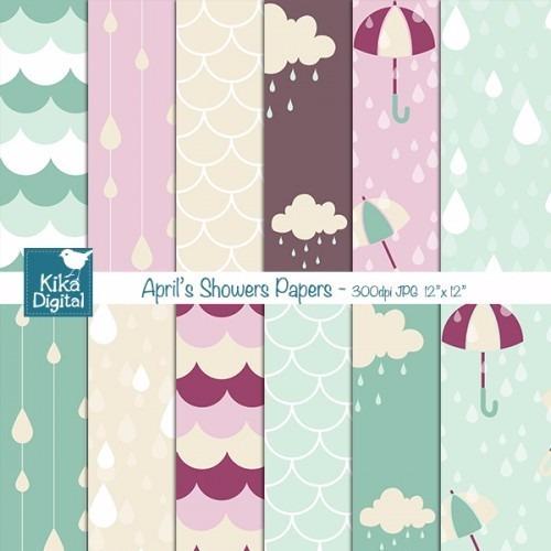 kit imprimible pack fondos paraguas clipart