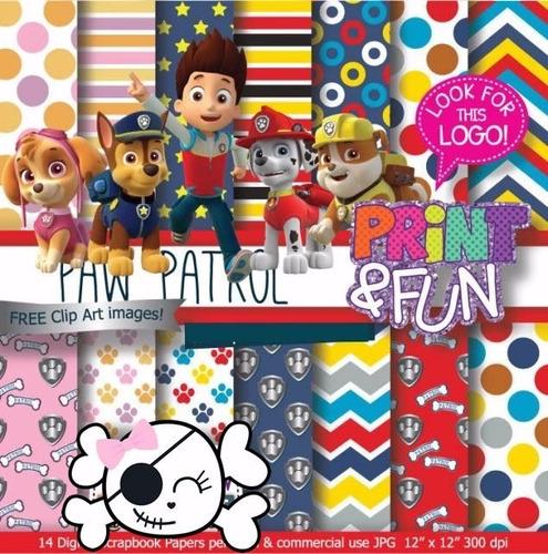 kit imprimible pack fondos paw patrol clipart