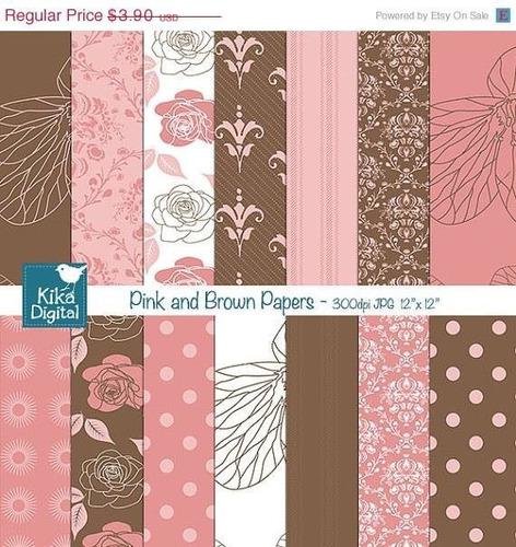 kit imprimible pack fondos rosa y marron clipart cod3