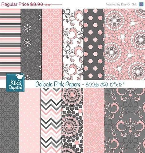 kit imprimible pack fondos rosas clipart cod27