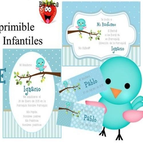 kit imprimible pajaritos celeste candy deco cumples bautismo