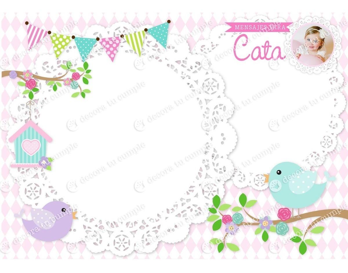 Kit Imprimible Pajaritos Pastel Invitación Candybar Bautismo