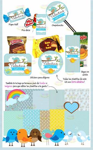 kit imprimible pajaritos shabby invitaciones candy 2 modelos