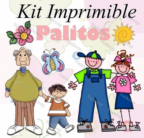 kit imprimible palitos motivos varios invitaciones