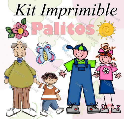 kit imprimible palitos varios invitaciones fiesta