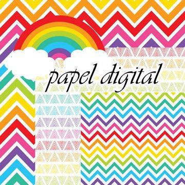 Kit Imprimible Papel Digital Arcoiris Color Fondos Clipart - $ 50,00 ...