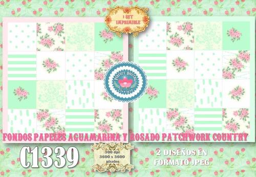 kit imprimible papeles digites patchwork country aqua scrap