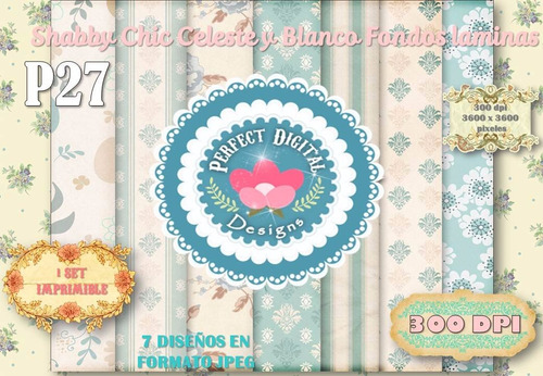kit imprimible papeles shabby chic celestes p/ candybar 15