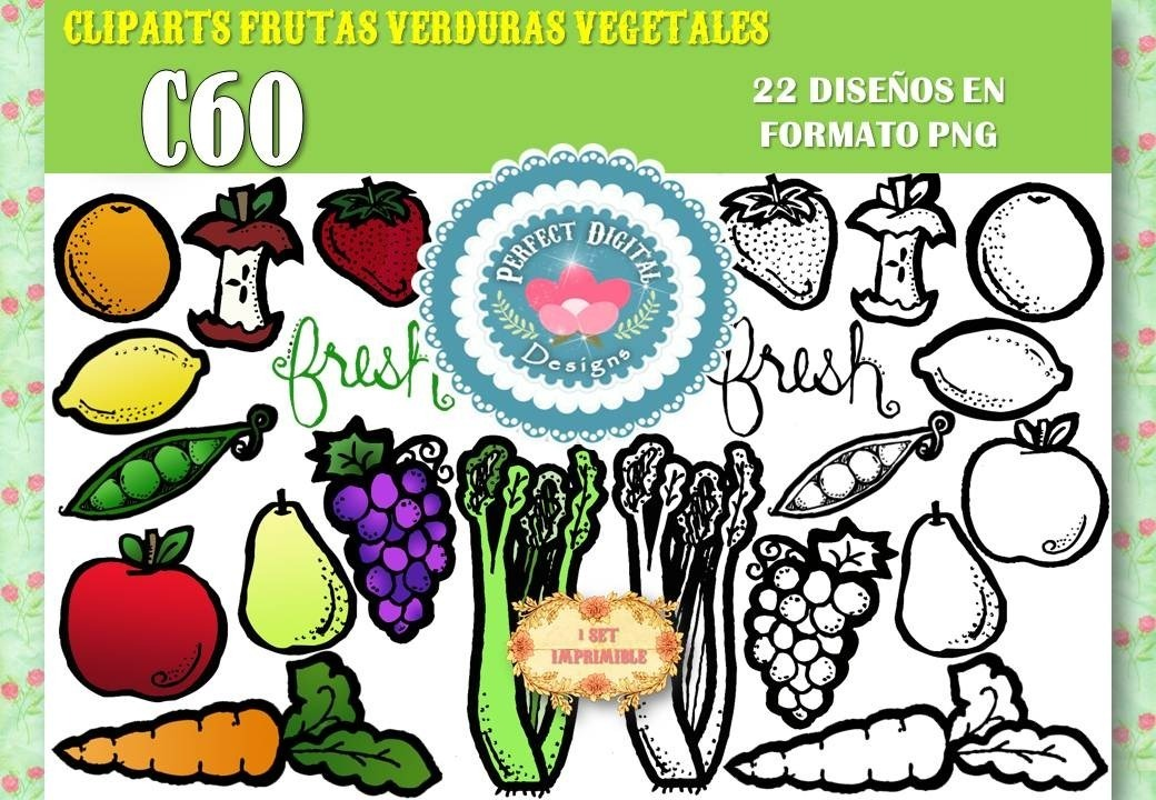 Kit Imprimible Cliparts Frutas Verduras Para Colorear Vegano